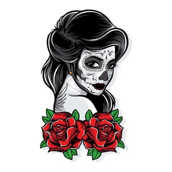 Sugarskull vector with roses