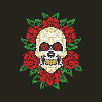 Sugarskull with roses ornament