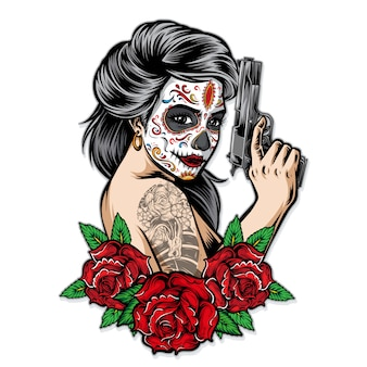 Sugarskull women holding gun vector