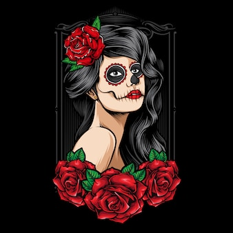 Sugarskull женщины с розами вектор