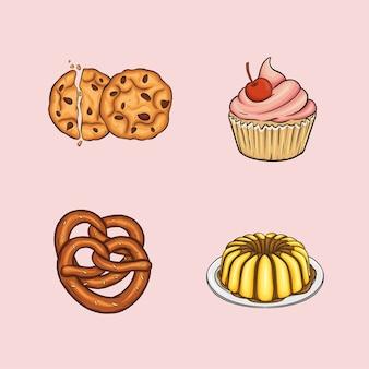 Сладкая еда включает печенье, кекс, крендель и пудинг.