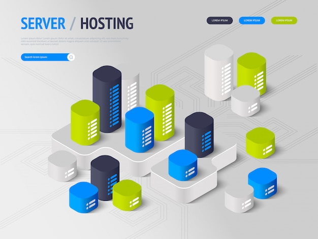 Suggesting to buy or rent a servers and hosting. landing page concept. header for website.