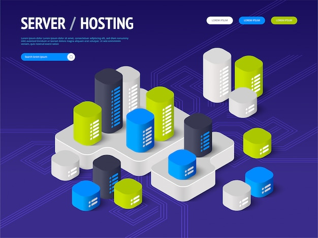 Suggesting to buy or rent a servers and hosting. landing page . header for website.