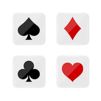 正方形ボタン上のカードのスーツデッキ。