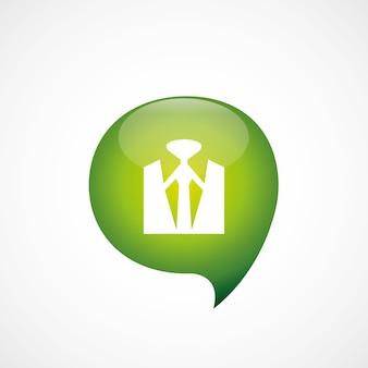 スーツアイコン緑の思考バブルシンボルロゴ、白い背景で隔離