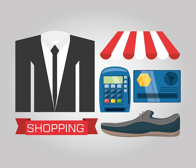Suit shoes and payment methods shopping concept