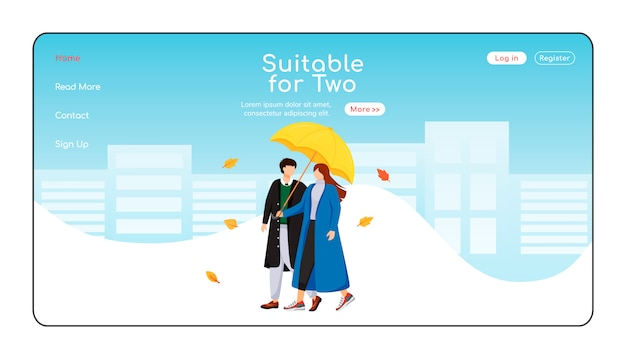 Suitable for two umbrella landing page flat color  template.