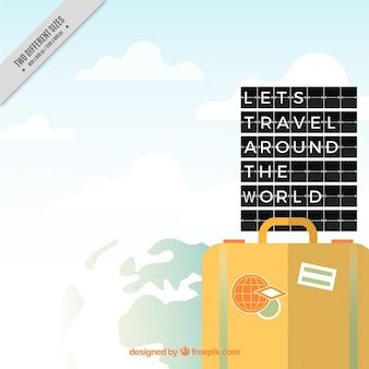 여행 가방 배경과 문구