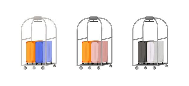 가방 배달 평면 색상 개체 집합입니다. 승객 용 가방이있는 랙. 화물 운송. 수하물 격리 된 만화