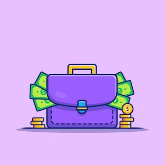 Suitcase full of money and gold coins cartoon icon illustration. finance and business icon concept isolated premium . flat cartoon style