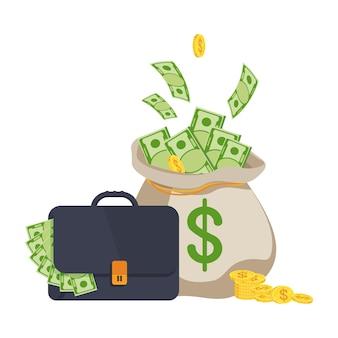 돈이 가득한 가방과 지폐가 든 머니 백. 부, 성공 및 행운의 상징입니다. 은행 및 금융. 평면 벡터 만화 일러스트 레이 션. 흰색 배경에 고립 된 개체입니다.