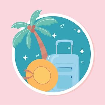 Suitcase hat tropical