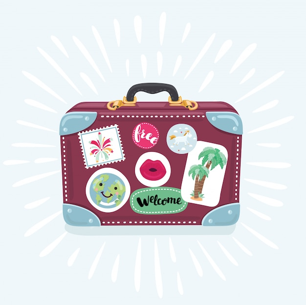 Suitcase icon in cartoon style  on white background. suitcase for trip  illustration