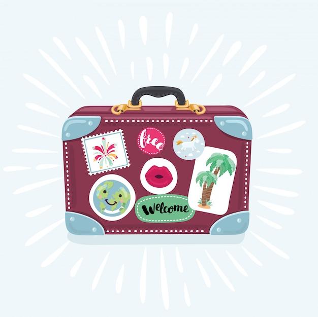 白い背景の上の漫画のスタイルのスーツケースアイコン。旅行イラスト用スーツケース