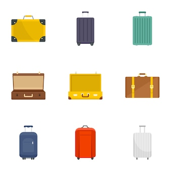 Suitcase icon set. flat set of 9 suitcase vector icons