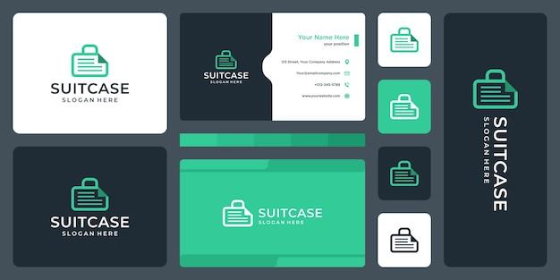 Логотип чемодана и логотип документа. дизайн визитки