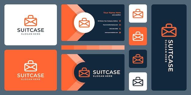 Логотип чемодана и электронная почта, логотип на конверте. дизайн визитки
