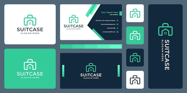 Логотип чемодана и логотип домостроения. дизайн визитки