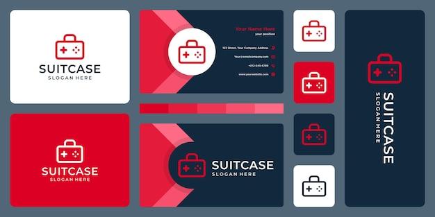 Логотип чемодана и логотип джойстика. дизайн визитки