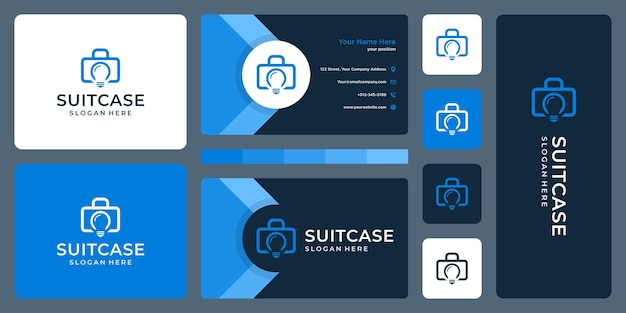 Логотип чемодана и логотип лампы. дизайн визитки