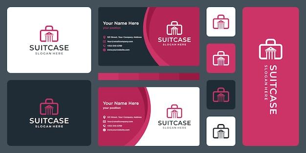 Чемодан логотип и логотип здания закона. дизайн визитки