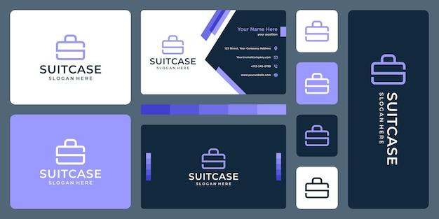 Чемодан логотип и монограмма буква s. дизайн визитки