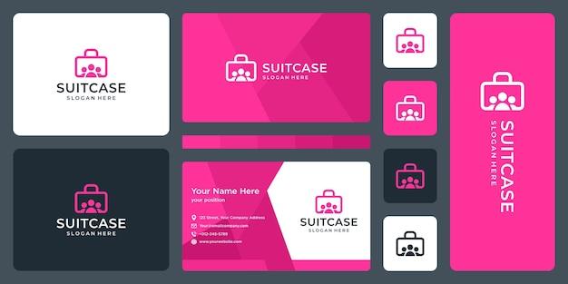 スーツケースのロゴとチーム、グループのロゴ。名刺デザイン