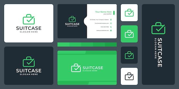 Suitcase logo and check mark logo. business card design