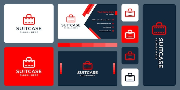 Suitcase logo and filmstrip logo. business card design