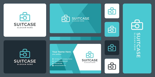 Suitcase logo and magnifying glass logo. business card design