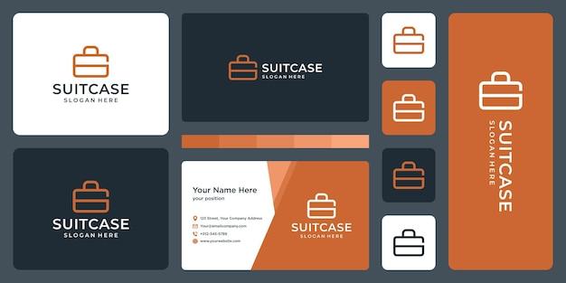 Suitcase logo and monogram letter g logo. business card design