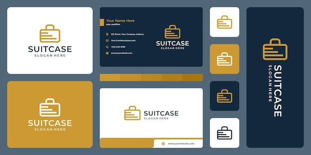 Suitcase logo and stairs logo. business card design