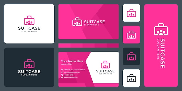 Suitcase logo and team, group logo. business card design