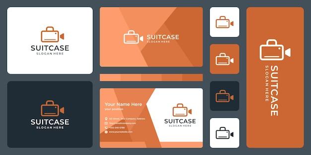 Suitcase logo and video camera logo. business card design