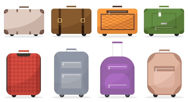 Suitcase and luggage bags icons