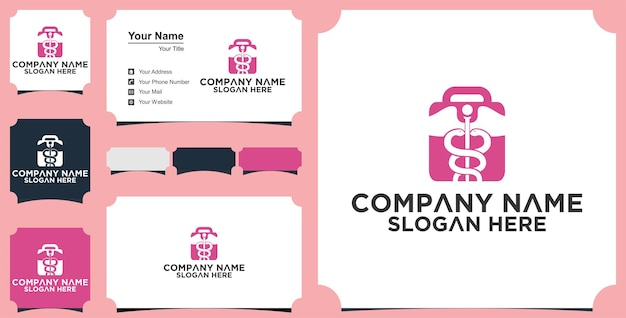 Suitcase medical logo and business card