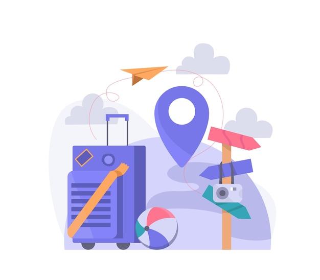 スーツケース、ナビゲーション、トラベラーアクセサリー。ランディングページオブジェクトの旅行イラストベクトル