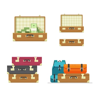 Suitcase old open travel leather retro isolated vector set in flat cartoon style