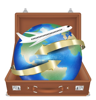 Suitcase open with airplane fly around the world