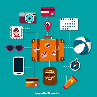 Suitcase and other travel element set in flat design