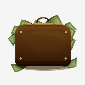 Suitcase overflowing with cash. the concept of financial success, wealth, jackpot