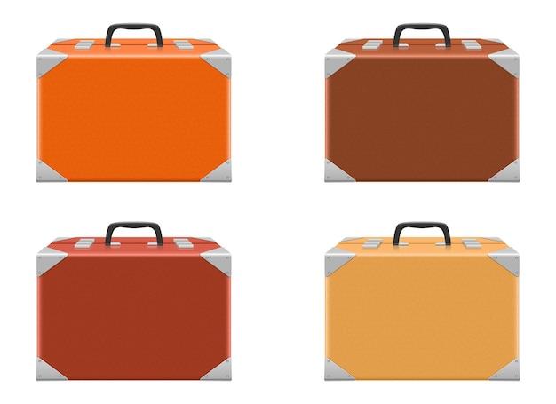 Чемодан набор дизайн иллюстрации, изолированные на белом фоне