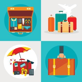 Suitcase set, flat style