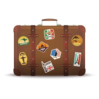 Suitcase stickers. old retro luggage with travel badges vintage antique package vector picture