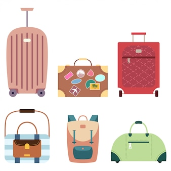 Suitcase and travel bags vector set of cartoon flat luggage icons isolated