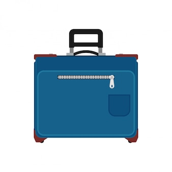 Suitcase travel front view. baggage vacation bag isolated white. journey handle blue trolley valise