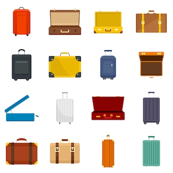 Suitcase travel luggage bag icons set