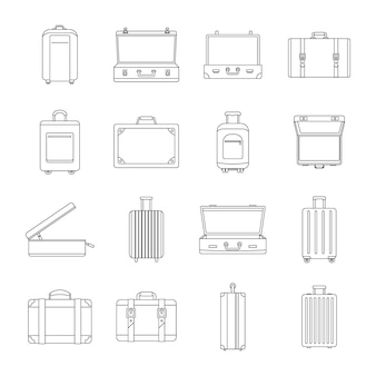 Suitcase travel luggage icons set