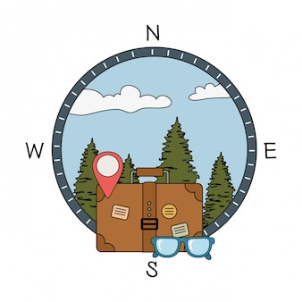 Suitcase travel with eyeglasses and camping icon