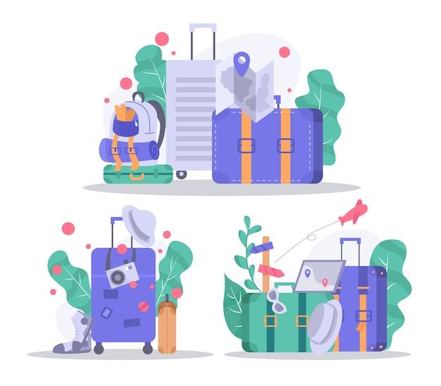 Suitcase and traveler accessories. travel illustration set